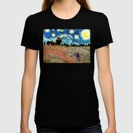 Monet's Poppies with Van Gogh's Starry Night Sky T-shirt