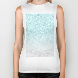 Turquoise Glitter and Marble Biker Tank
