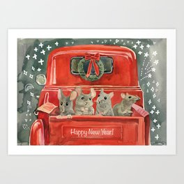 New year and mouses in red car Art Print