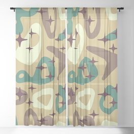 Retro Mid Century Modern Abstract Composition 940 Sheer Curtain