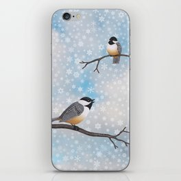 chickadees in snow iPhone Skin