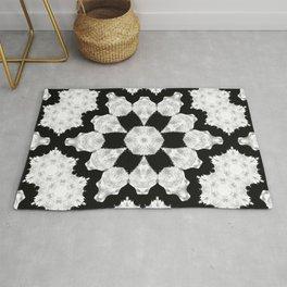 Black and White Flower Pattern Design Rug