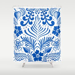 Mexican Folk Floral Ornaments Shower Curtain