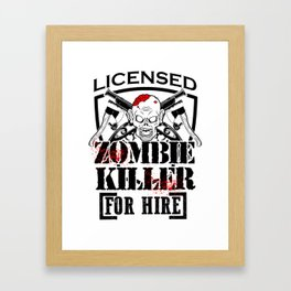 Zombie Killing Halloween Killer For Hire Axe Knife Light Framed Art Print