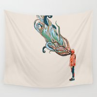 octopus Wall Tapestries featuring Octopus in me by Huebucket