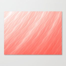 Living Coral Wavy Ombre Pattern Canvas Print