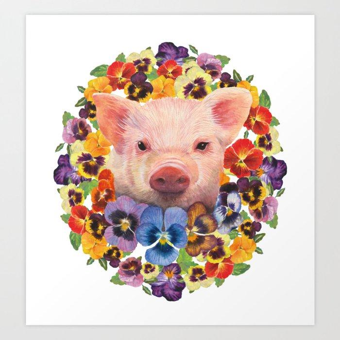 Pansy Pig Art Print
