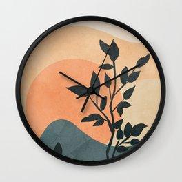 Orange Rising Sun Wall Clock