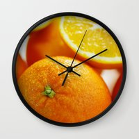 dentist Wall Clocks featuring Fresh Orange for the Kitchen by Tanja Riedel