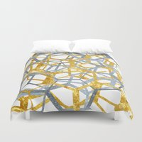 hexagon Duvet Covers featuring Hexagon Marble by NefariousBear