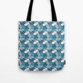 Teal Curled Up Bunny Cats Tote Bag