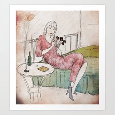 Fille in Bed Art Print
