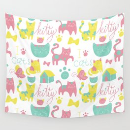 Abstract lime green pink cute cats pattern modern typography Wall Tapestry