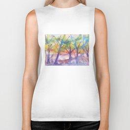 Spring landscape watercolor Biker Tank