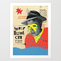 superheros Art Prints featuring superheros cry too by crayon dreamer