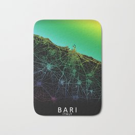 Bari, Italy, City, Map, Rainbow, Map, Art, Print Bath Mat