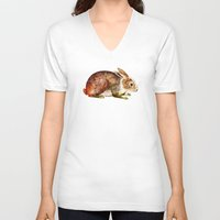 bunny V-neck T-shirts featuring Bunny by TatiAbaurreDesigns