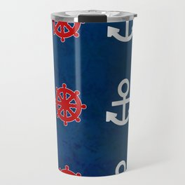 Anchor Ship Wheel Pattern Travel Mug