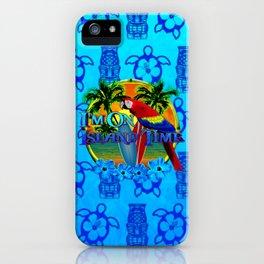 Island Time Surfing Blue Tiki iPhone Case