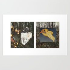 Fire In The Big Woods Diptych Art Print