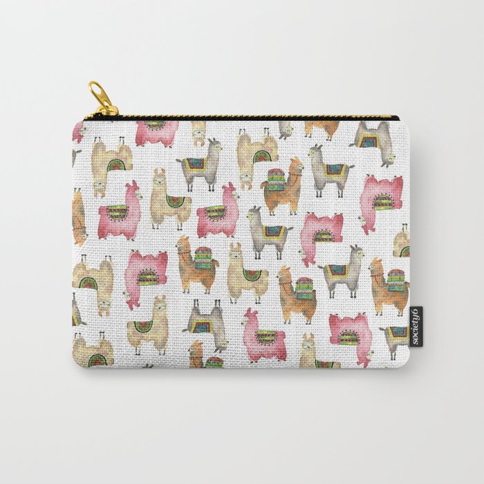 Llama love / Alpaca adventure wanderlust travel / animal baby nursery gift for her shower decor Carry-All Pouch