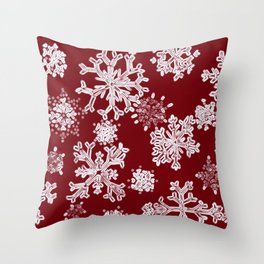 Snowflakes(red backgroud) Throw Pillow