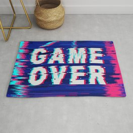 Game Over Glitch Text Distorted Rug
