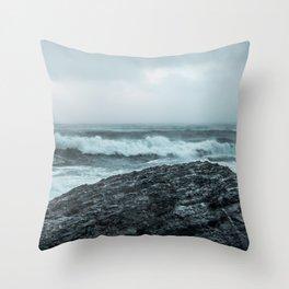 stormy sea Throw Pillow