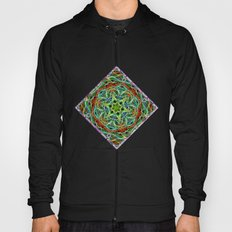 Feathered texture mandala in green and brown Hoody