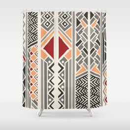Tribal ethnic geometric pattern 034 Shower Curtain