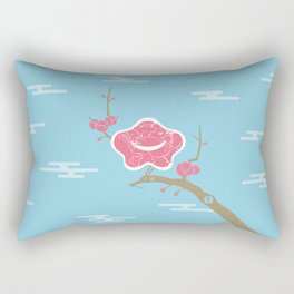 Plum and Dragon Rectangular Pillow