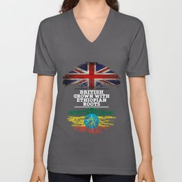 British Grown With Ethiopian Roots Unisex V-Neck