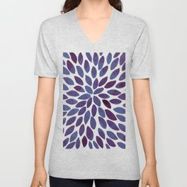 Watercolor brush strokes - blue and purple Unisex V-Neck