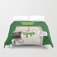 irish Duvet Covers featuring Saint Patric's cat, Cat cartoon characters, Irish Cat cartoon, ZWD004 by ZeeWillDraw
