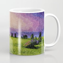 Sunrise at Castlerigg Stone Circle, Keswick, Lake District, Uk. Watercolour Painting Coffee Mug