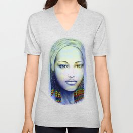 Creole African Girl Portrait Hand Drawing  Unisex V-Neck