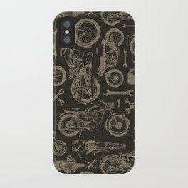 Dark Vintage Motorcycle Pattern iPhone Case
