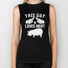 This Guy Loves Meat Funny BBQ Barbeque Pig Roast Biker Tank