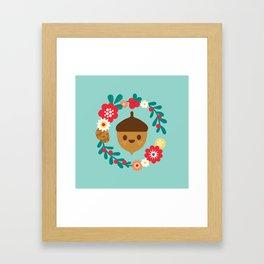 Acorn and Flowers Framed Art Print