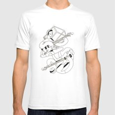 Crisp Bass White SMALL Mens Fitted Tee