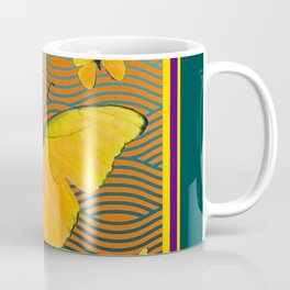Dark Teal Yellow Butterflies Pattern Coffee Mug