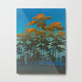 Vintage Japanese Woodblock Print Art Print Tall Sunset Trees Silhouette Twilight Forest East Asian Metal Print