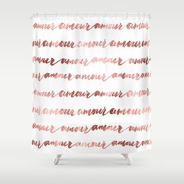 Amour French Love Script Rose Gold Typography Pattern 2 Shower Curtain