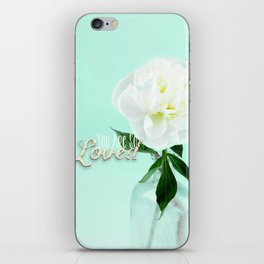You Are So Loved - Peony in Aqua iPhone Skin