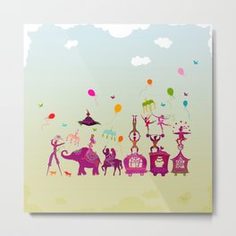colorful circus carnival traveling in one row during daylight Metal Print