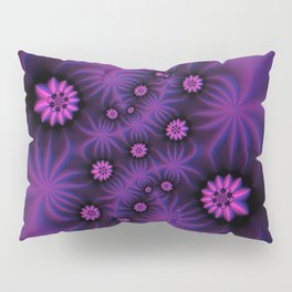 Berry Colored Fractal Flowers Pillow Sham