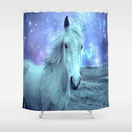 Blue Horse Celestial Dreams Shower Curtain