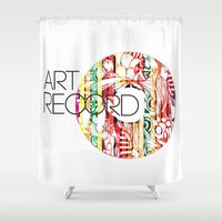 record Shower Curtains featuring Art Record by kartalpaf