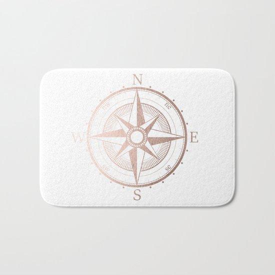 Rose Gold Compass Bath Mat