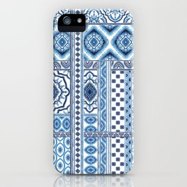Blue and white ethic tiles iPhone Case